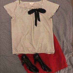 LOFT black and cream striped shirt